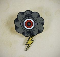 Eye Cloud Neo Traditional Tattoo Brooch