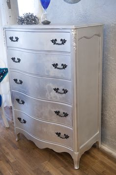 this is an antigue refurbished dresser done in metallic silver with original high gloss black pulls. for sale for 300 Refurbished Dressers, Antique Furniture For Sale, Furniture Styles, Furniture Ideas, School Furniture, Diy Bedroom Decor, Home Decor, Painted Furniture, High Gloss