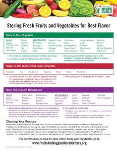 Storing Fruits and Vegetables . . .