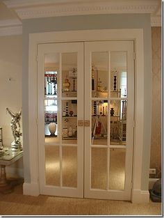 I want to use these in my foyer instead of the plain french doors.to reflect and open up the area. I want to use these in my foyer instead of the plain french doors.to reflect and open up the area. Mirror Closet Doors, Bedroom Closet Doors, Bathroom Doors, Mirror Door, Kitchen Doors, Master Closet, Master Bedroom, Entrance Doors, Patio Doors