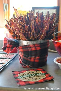 Bacon on a Stick for a Lumberjack Party
