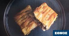 Ο κιμάς είναι κεντημένος με σταφίδες, κάστανα, φιστίκι Αιγίνης και κουκουνάρι. Μοσχοβολάει μπαχάρι, κανέλα, γαρίφαλο και θυμάρι. Την συνταγή για αυτή τηνκρεατόπιτα με την πλουσιοπάροχη γέμιση και το τραγανό φύλλο (μπορούμε να χρησιμοποιήσουμε είτε φύλλο κρούστας είτε σφολιάτα)μας την έδωσε ο σεφ του Makedonia Palace Σωτήρης Ευαγγέλουκάποια περασμένα Χριστούγεννα. Spanakopita, Pork, Meat, Ethnic Recipes, Desserts, Kale Stir Fry, Tailgate Desserts, Deserts, Postres