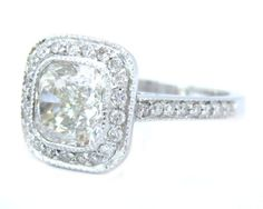 14K White Gold Cushion Cut Diamond Engagement Ring Bezel Set 2.75Ctw