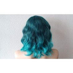 Pastel Teal ombre wig. Beach wavy hairstyle Teal ombre colored wig. ($130) ❤ liked on Polyvore featuring beauty products, haircare and hair styling tools