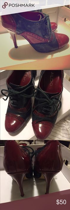 Aldo Manoca Shoe Red and navy lace up stilettos. Sz 7 euro 38. Gently used. Retails for $70 Aldo Shoes Heels