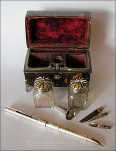 "1770 Portable Writing Set - ""The tiny tortoiseshell box measures only 2½"" by 1½"" — so small it might have easily been carried in a lady's reticule. It is lined in red velvet, and all the fittings are sterling silver. Inside is everything needed to pen a quick note, perhaps when traveling or otherwise away from pen and ink."""