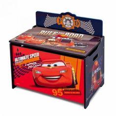 Cars Toy Box Disney Deluxe Toy Storage Lightning McQueen Children Kids Wood NEW #Disney