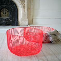 Neon Red Wire Storage Baskets from A+R Store in LA   Remodelista