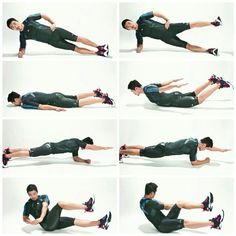 Side plank & side kick 15rep Lying back extention 15rep Plank arm raise20rep  bicycle twist 20rep  3set