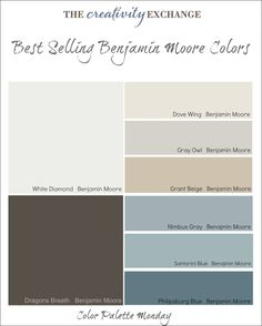 Best Selling Benjamin Moore Paint Colors {Color Palette Monday} Dove Wing for bedroom