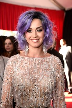 Katy Perry's New Lilac Hair Color Upstages Her Sparkly Dress