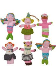 Girly Finger Puppet Set - Kiddo loves mermaids. This might have to be added to her toy selections.