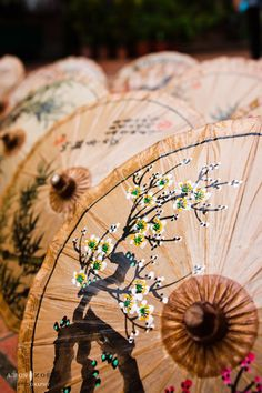 Hand painted oil-paper umbrellas to hang upside down