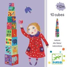 Djeco Nature and Animal Stacking Cubes 1st Birthday Presents, Teaching Numbers, Stacking Blocks, Nature Animals, Cute Illustration, Colorful Pictures, Pre School, Your Child, Animal Pictures