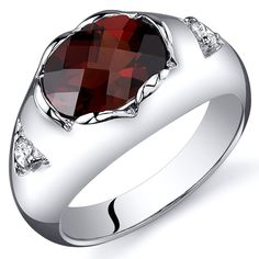 Garnet Ring Sterling Silver Rhodium Nickel Finish Checkerboard Cut 2.25 Carats Sizes 5 to 9 ** See this great image  : Jewelry Ring Statement