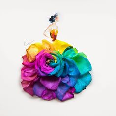 Arte floral by Limzy. Whimsical Fashion, Floral Fashion, Arte Floral, Flower Petals, Flower Art, Art Flowers, Floral Flowers, Arte Fashion, Rainbow Roses