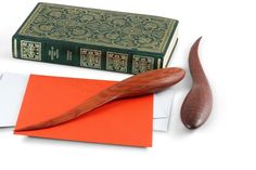 The sensual, organic shape of these hand carved letter openers makes you just want to pick one up and enjoy the tactile qualities of its form. Made in either rich, dark, Jarrah or figured She Oak, these letter openers are very efficient at their job and look great on a desk. They come boxed make an interesting and unusual gift. MEASUREMENTS Dimensions*: Height 3.8cm x Width 2.5cm x Length 26.5cm Weight*: 0.075kg *Note: This letter opener is handcrafted, and as every piece of wood is unique…