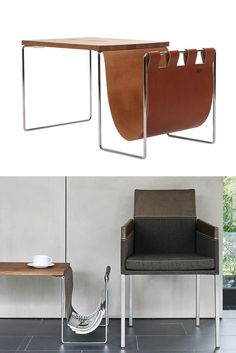 Square coffee #table with integrated magazine rack NL by KFF