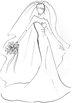 Sposiamoci a boutique wedding show Wedding Drawing, Wedding Dress Sketches, Wedding Embroidery, Wedding Show, Wedding Bed, Post Wedding, Digi Stamps, Colouring Pages, Line Drawing