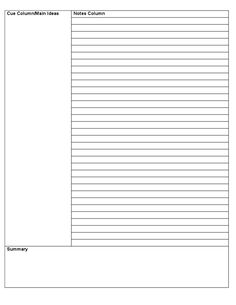 This Is A Fillable Cornell Notes Template For Word Unlike Other