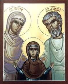 The Holy Family. St. Anna & St. Joachim with Theotokos (Mother Mary with her parents)
