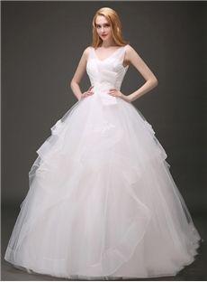 簡潔なVネック床の長さのパフィーの夜会服ホワイトのウェディングドレス