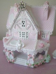 shabby christmas village | SHABBY PINK CHRISTMAS VILLAGE HOUSE~CHIC SWAROVSKI CRYSTALS!~ANGELS ...
