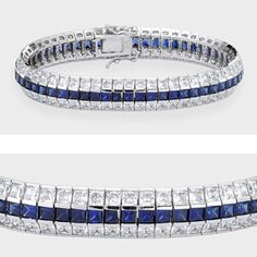 Elegant cubic zirconia bracelet features princess cut stones channel set in 14k white gold. Two rows of cubic zirconia with one row of synthetic sapphire in the middle, measures over 10mm wide. An approximate 23.60 total carat weight. This high quality bracelet is 7 inches long, also available in different lengths via special order. Cubic zirconia weights refer to equivalent diamond carat size.
