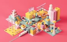 Kyoto City isometric design by Núria Madrid