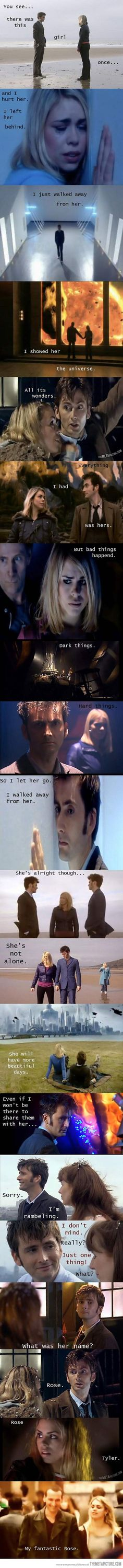 The Doctor and Rose <3 pretty sure I just cried because I'm not that far into the series yet and because I love them together.