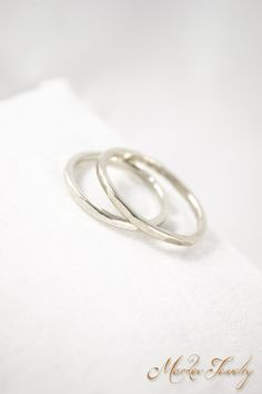 Simple Silver Band: Handcrafted Fine Silver unisex hammered ring.