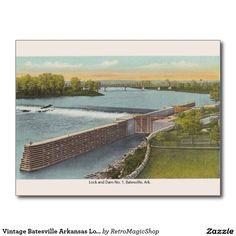 Vintage Batesville Arkansas Lock and Dam Postcard