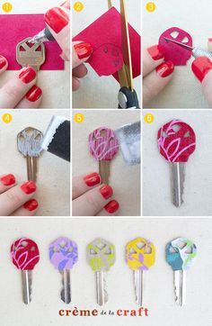 DIY: Personalized Key Covers from Leftover Scrapbook Paper - Totally doing this to my keys Key Crafts, Cute Crafts, Crafts To Make, Arts And Crafts, Diy Projects To Try, Craft Projects, Craft Ideas, Decoration St Valentin, Mod Podge Crafts