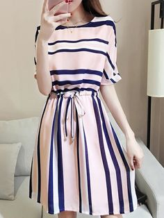 Round Neck Drawstring Striped Skater Dress Looking for Latest Trends Street Skater Dresses? Off you really don't want to miss Enjoy First Order Off Cheap Skater Dresses, Women's A Line Dresses, Day Dresses, Cute Dresses, Casual Dresses, Skater Skirts, Shift Dresses, Chic Outfits, Fashion Outfits