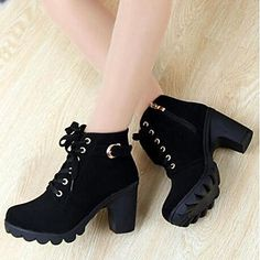Women's Shoes LIANGMEIYUE Fashion Boots Round Toe Lace Up Lug Sole Ankle Boots with Zipper - USD $ 16.09