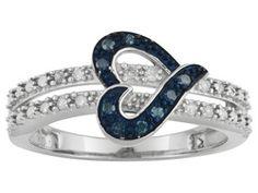 Blue Velvet Diamond(Tm) & White Diamond .12ctw Round Rhodium Over Sterling Silver Heart Ring