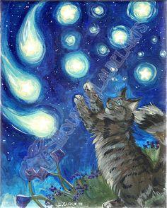 Reach For the Stars  Kitty cat shooting star by mtnlaurelarts