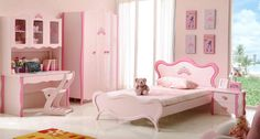 Likable Modern Bedroom For Teenage Girls With White Combined Pink Wooden Study Desk Including Unique Cream Wooden Chair Above White Floor And Pink Wooden Cupboard Near Window Also White Pink Wooden Single Beds Near Cabinet 2 Drawer As Well As Girls Bedroom Rugs  Also Modern Platform Bedroom Sets , Pretty And Modern Bedrooms For Teenage Girls: Bedroom