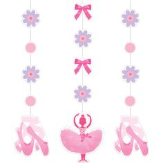 Decorate your ballet themed party with these wonderful hanging cutouts sold with the Tutu Much Fun party supplies. The printed hanging cutouts come with three strings hung with various medallions, each assembled string measuring 36 inches in length and the largest cutouts measure 7 inches. Two strings feature alternating pink dot cutouts and lavender flowers with pink centers, each ending in a pair of pink ballet slippers with their delicate ankle ribbons. The other string has alternating…