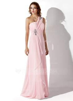 [£ 98.00] Empire One-Shoulder Sweep Train Chiffon Evening Dress With Beading Cascading Ruffles (017002568)