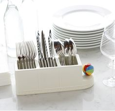 Nora Fleming Flatware Holder. A simple, stylish way to corral spoons, forks and knives for your next gathering! perfect for an elegant or casual get together!