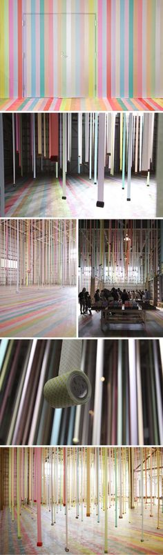 This delightfully colorful tape installation designed by Koji Iyama took place in Sendai, Japan, as a promotion for mt masking tape.