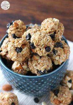 No Bake White Chocolate Blueberry Maple Granola Bites Recipe from A Kitchen…