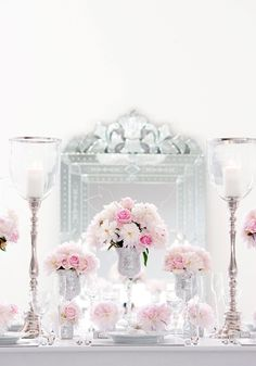 Plush Pinks Florals on Crisp White Linen | Event Planning and Design by Luxe Fête | luxefete.com