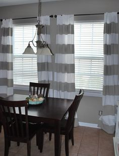 Painted Curtains Tutorial: She created her own striped curtains by painting the stripes on.  She also used the exact same paint she has on her walls for a nice consistent color scheme - smart.