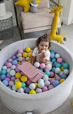 Mini Be Ball Pit - Pastel Rainbow - The Modern Nursery Ball Pit Pink, Pram Toys, Rainbow Nursery, Nursery Modern, Doll Beds, Lego, Nursery Inspiration, Ball Pits, Ball Pit For Babies