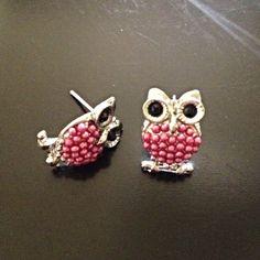 $10 Jewelry Special - Beaded Owl Earrings (pink) - $10