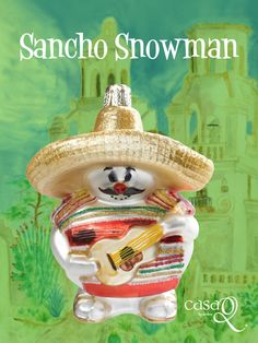 CasaQ's 'Sancho Snowman' fine glass ornament comes with a gift box and legend card explaining the history or symbolism behind the design. http://casaqornaments.com