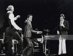 Bruce Forsyth, Sammy Davis Jr. and Anthony Newley during the opening night of Bruce Forsyth on Broadway. Winter Garden Theater, New York City, 1979.