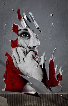Hans Cras - Spontaneous street art, The brewing emotion from being ripped, conveys the point that something has been taken from her.